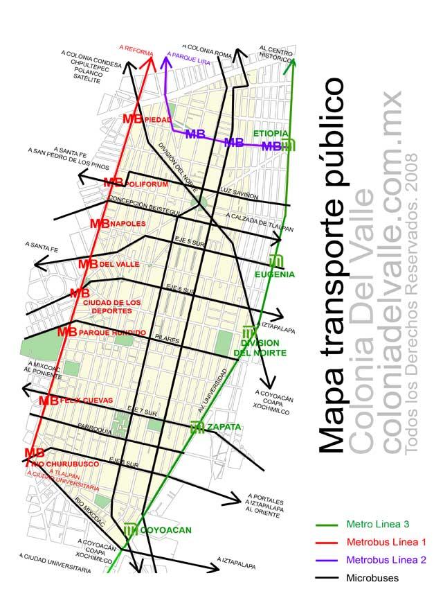 Mapa de transporte público en la Colonia Del Valle
